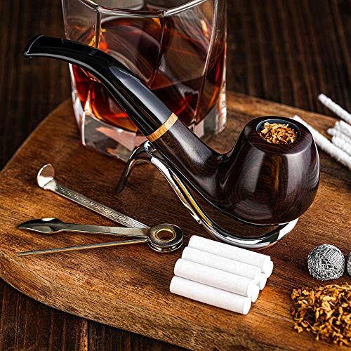 Tobacco Pipe, Handmade Wood Smoking Pipe, Perfect Beginner Pipe Kit for Smoking with Ultimate Guide E-Book, Gift Set and Accessories (Sunny Yellow)