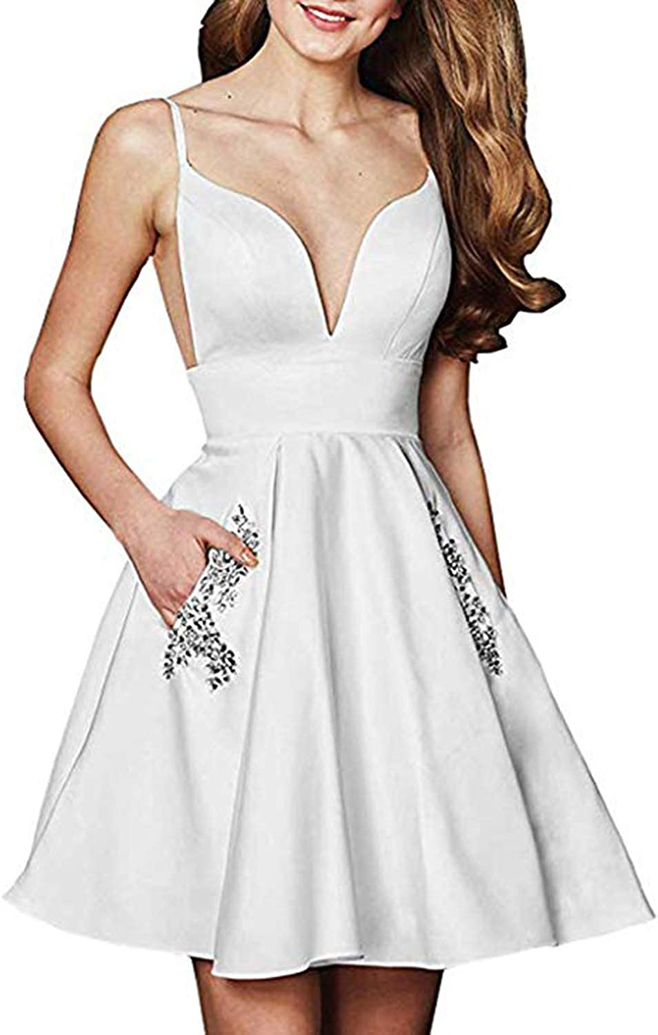 ALine Beaded Satin Homecoming Dress Short Backless Prom Party Gown with Pockets QJG014