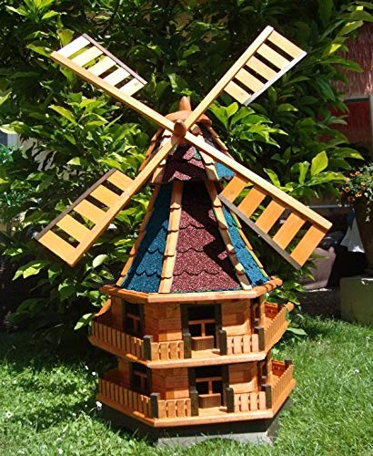 BTV Ölbaum XXXL-Gartenwindmühle, Premium - imprägniert + kugelgelagert 1,60 m groß DOPPELSTÖCKIG 2-stöckig rot blau rotblau rot-blaugrau rot-grau edelgrau edel