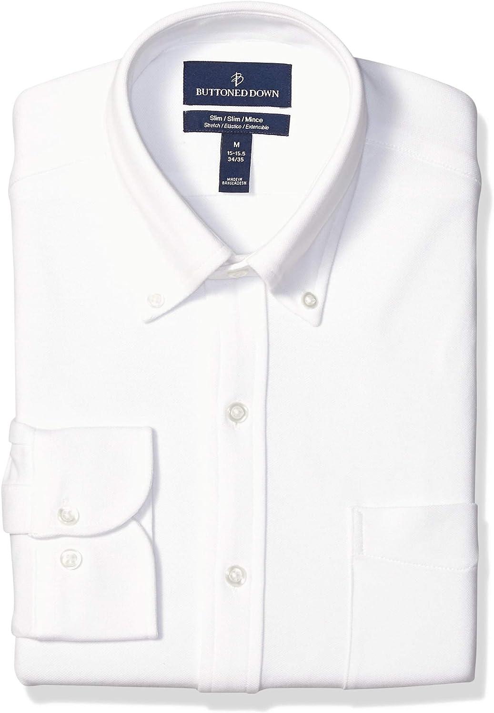 Buttoned Down Men's Slim Fit Stretch Knit Dress Shirt, Supima Cotton, Button-Collar