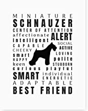 Dog Lover Gifts Art Quote Print 'Pet Personality' Home Decor - Various Breeds Unframed, Miniature Schnauzer, 8.5x11