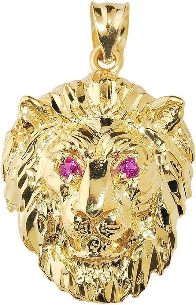 Animal Kingdom Bold 10k Yellow Gold Leo Zodiac Sign Charm Lion Head Pendant