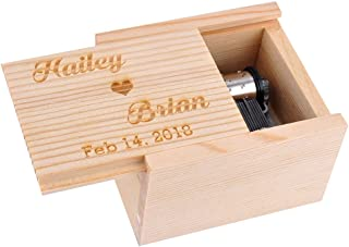 Awerise Personalized Wooden Musical Box, Custom Bridesmaid Box, Wood Music Box, Girlfriend Gift, Mother Gift, Boyfriend Gift, Birthday Gift, Xmas Gift (Tune: Love Story (Andy Williams Version))