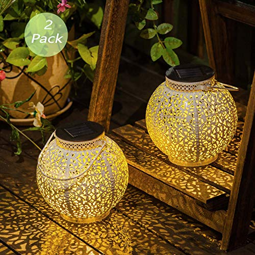 [Set of 2] TAKE ME Solar Lantern Lights Outdoor,Garden Hanging Lights Metal Retro Lights Lamp for Patio,Outside or Table (White)