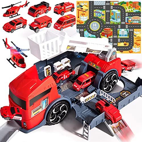 HERSITY Camion Pompieri Giocattolo Camion Trasportatore Garage Macchine Bambini con 6 Vigili del Fuoco, Mappa Auto, Pista Macchina Costruzioni Giochi Regalo per Bambino Ragazzi 3 4 5 Anni
