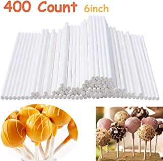 400 Count 6 Inch White Lollipop Sticks,Paper Sucker Stick for Chocolate,Cookies,Rainbow Candy,Cake Pops