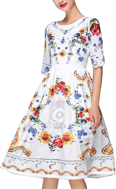 Embroidery Print Tie Waist Aline Dresses 3 4 Sleeve Vintage Dress For Girls