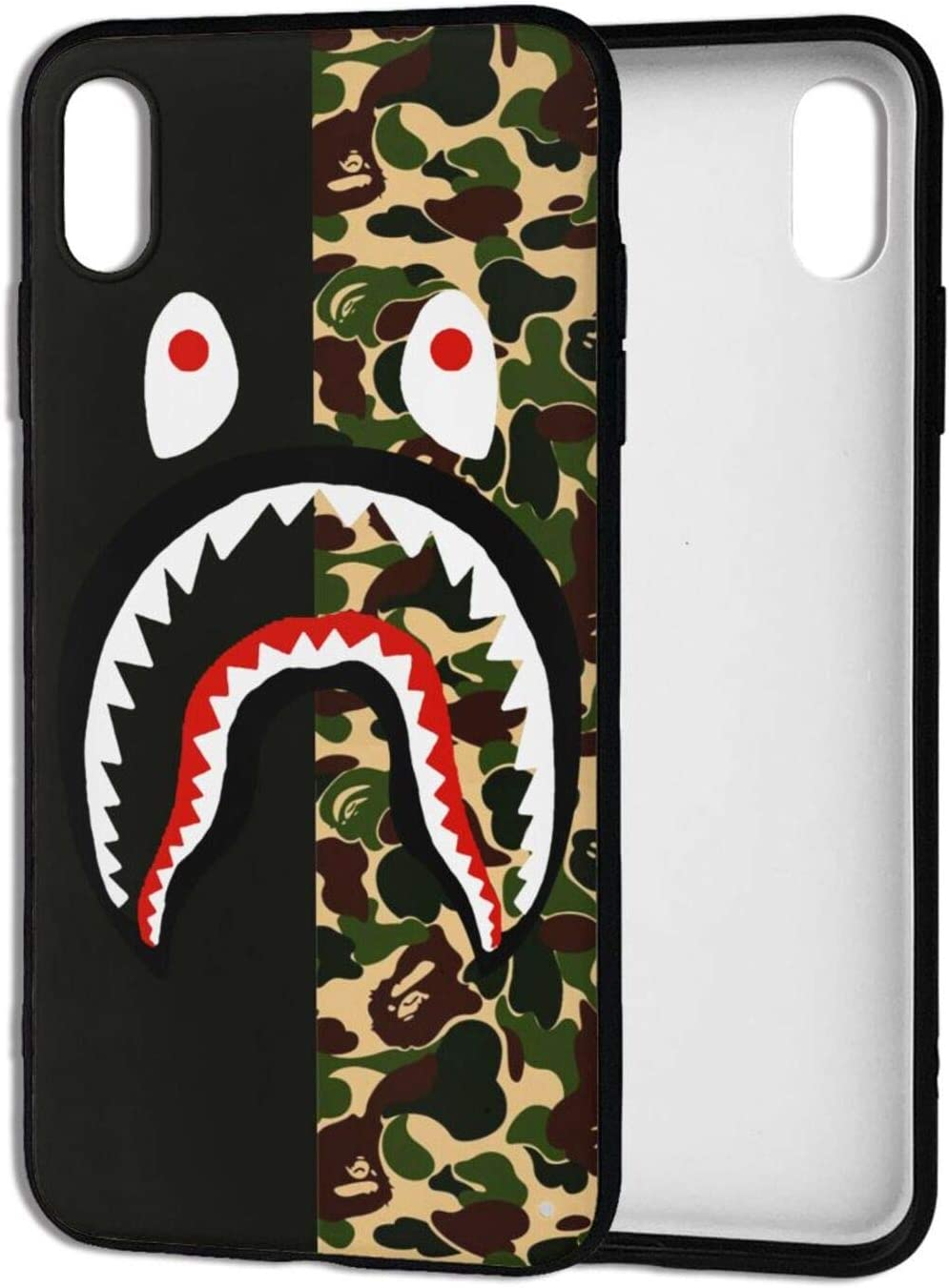 A-pe Ba_pe iPhone Xs Max Case, Street Fashion Design iPhone Xs Max Cases for Boys Girls Dual Layer Shockproof Cover Soft TPU Full-Body Cool Camo Case for iPhone Xs Max (6.5 Inch) - Camo-Shark