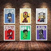 ZYQYQ Cartoon Superhero Art Cartoon Canvas Paintings Poster and Print Wall Art Picture Home Home Decor 30x45cmx6 No Framed