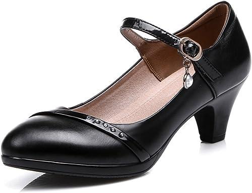 QIDI zapatos Casuales mujer Transpirable negro De Moda De Tacón Bajo zapatos Individuales (Tamaño   EU39 UK6)