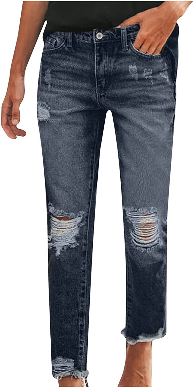 CofeeMO Womens Fall Jeans Fashion Pant Stretch Slim Wide Leg Casual Denim Zipper Flares Hole Skinny Button