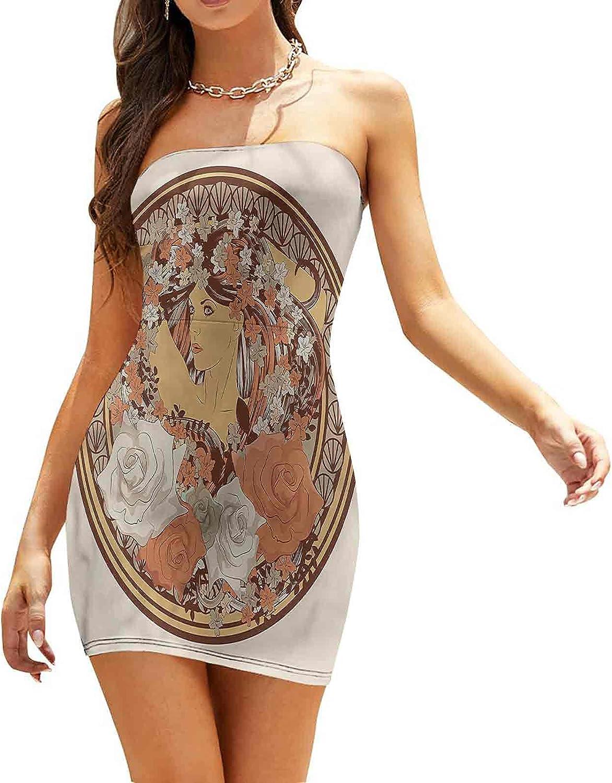 Women's Sleeveless Sexy Tube Top Dress Heart Shaped Peacock Feathers Dresses