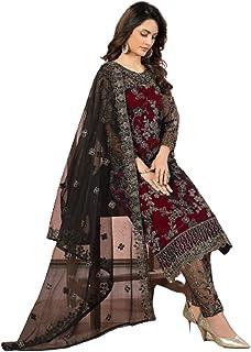 فستان هندي للسيدات من بوليوود بتصميم أحمر أنيق ومنسدل مع شبكة من الحرير بتصميم إسلامي باكستاني 6091