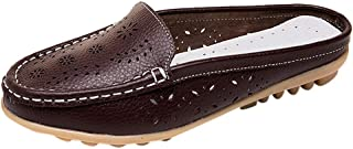 Leather Leather,ONLY TOP Women Casual Summer Breathable Slip-On Backless Slipper Mule Loafer Flats Shoes Hollow Out