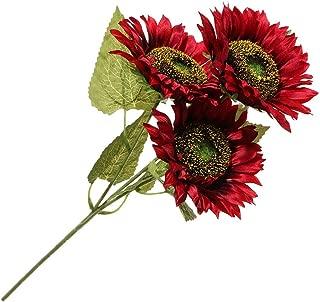 Idlespace 3Heads Fake Sunflower Bouquet Fashion Bright Silk Artificial Flower for DIY Craft, Home Decor, Wedding Decoration(red)