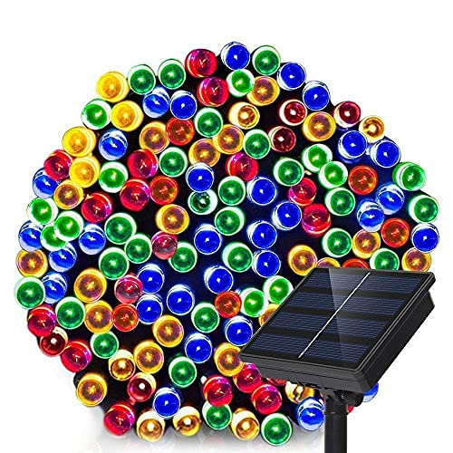 Luces de hadas solares 100 LED 8 modo impermeable Navidad ambiente al aire libre luz para patio césped jardín fiesta Navidad (multicolor)