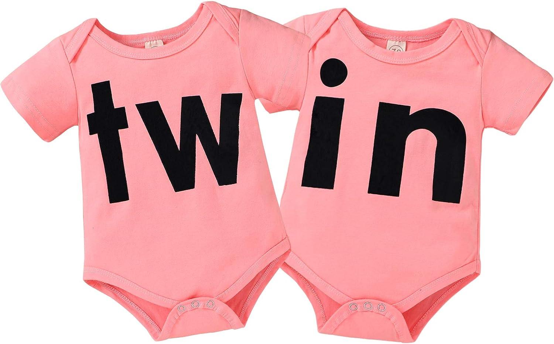 2Pcs Newborn Twins Baby Boys Girls Short Sleeve Cute Romper Bodysuit Summer Outfit Clothes