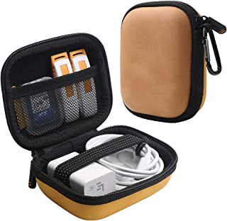 Iksnail Earbuds Carrying Case, Small Zipper Case for Bluetooth Earphone, Portable Storage Earbud Pouch Bag for Headsets/USB Cables(Orange)