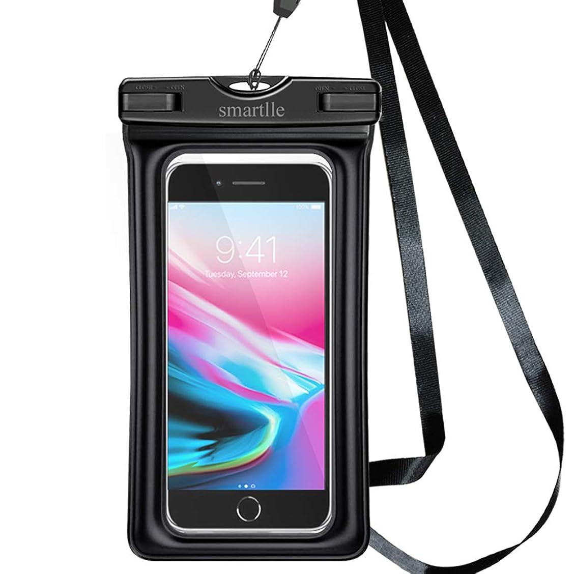 巡礼者算術災害smartlle 浮遊 防水ケース 大型スマホ 防水携帯ケース完全防水ポーチ ドライバッグIPX8 アウトドアスポーツ iPhone X、8、7、6 Plus、SE、Samsung S9+、S9、S8+、LG V20、HTCに対応、夜間発光 水中撮影 海 潜水 水泳 プール ダイビング 釣り お風呂 砂浜 水遊 など適用 (黒(フローティング))