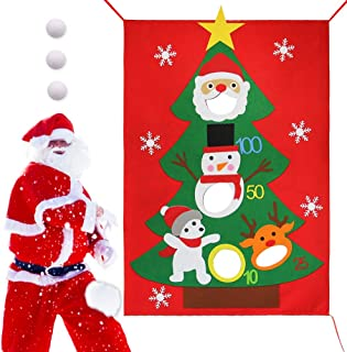 Lulu Home Christmas Bean Bag Toss Game, Christmas Felt Bean Bag Santa Toss Games with 3 snowballs, Xmas Party Games for Kids