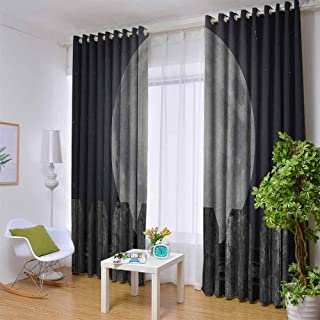 Blackout Tie Up Shade Curtain Moon,Silhouette of a Cat Looking to Full Moon While Sitting on The Fence Animal, Black Pale Grey Blue,W104 by L84 Inch Lifable