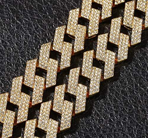 VCX Nieuw Kleur 20mm Cubaanse Link Chains ketting mode Hip hop sieraden 3 Rij steentjes Bevroren uit kettingen for mannen (Length : 16inch, Metal Color : Gold)