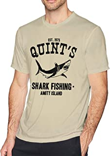 Printed Quint's Shark Fishing Mens Funny Shot Sleeves T-Shirt