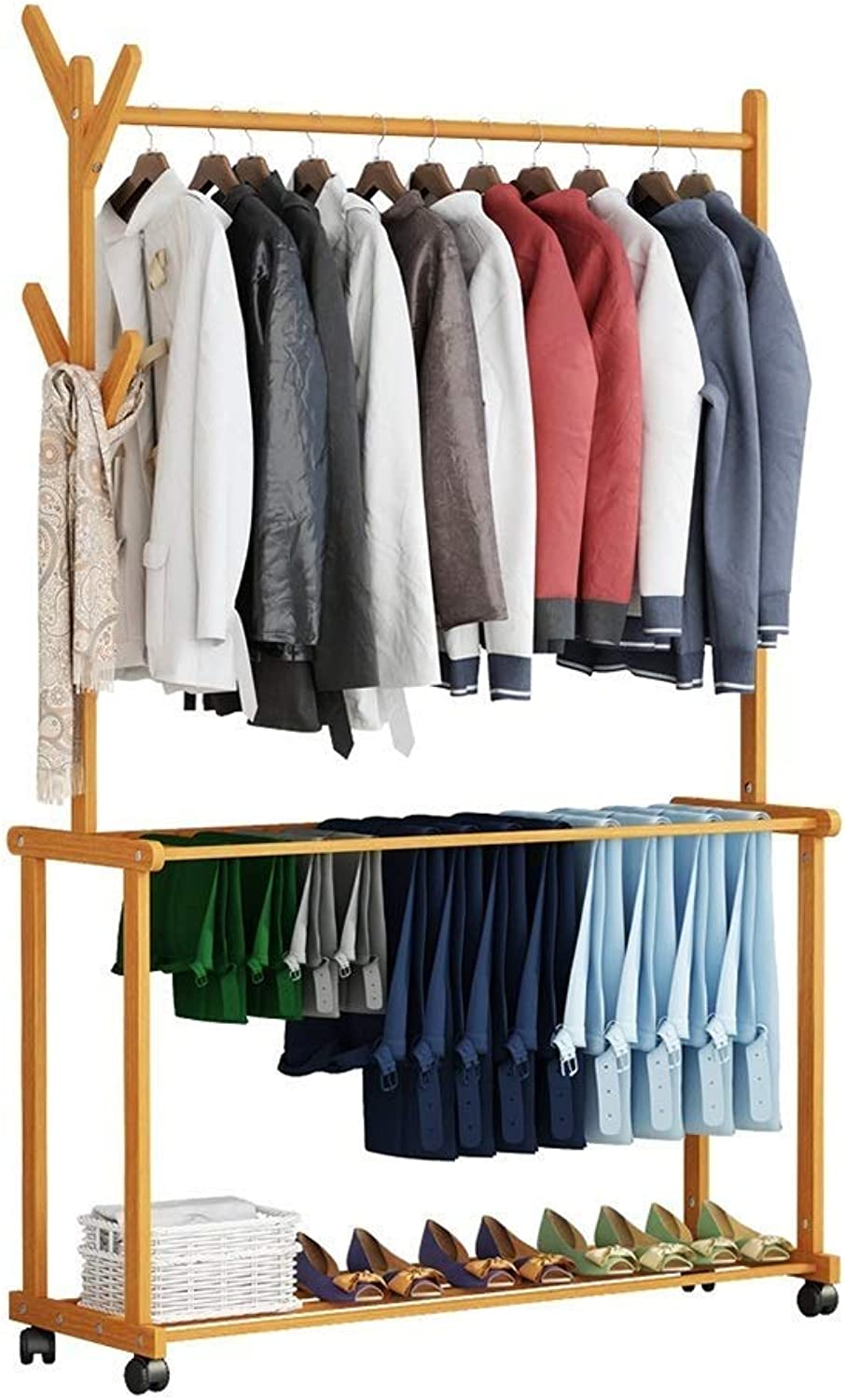 LQQGXLModern Minimalist Coat Rack, Bamboo Wood Coat Rack Free Standing Removable with Coat Hooks One Layer shoes Rack (Size   60x37x175cm)