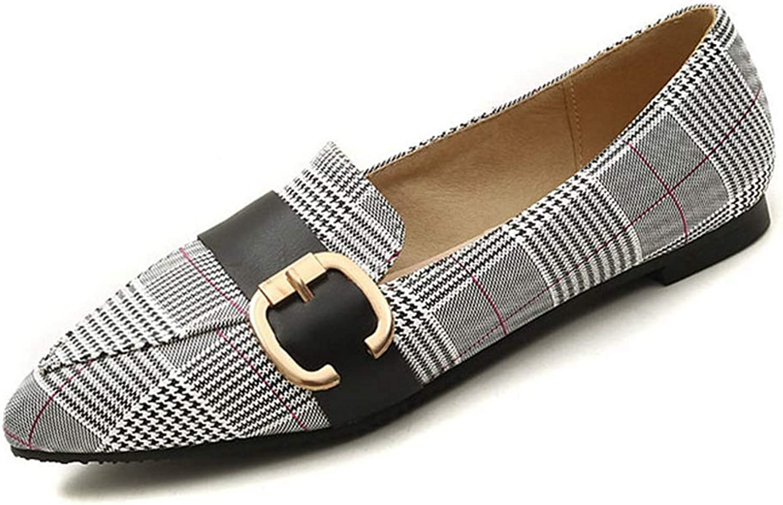 KEREE Women's Classic Point Toe Ballet Flats Lattice Slip On Walking Flat Dress Pumps shoes