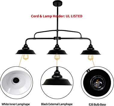 PUZHI HOME Black Pendant Lighting Fixture, 3-Lights Modern Farmhouse Chandelier with Metal Shades Kitchen Island Lighting for