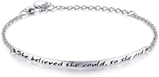 """She Believed she Could so she did"" Engraved 925 Sterling Silver Inspirational Bangle Bracelets"