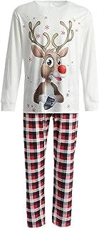 Family Christmas Pyjamas Set Elk Pattern Long Sleeves Tops + Elastic Waist Plaid Pants Christmas Parent-Child Clothing