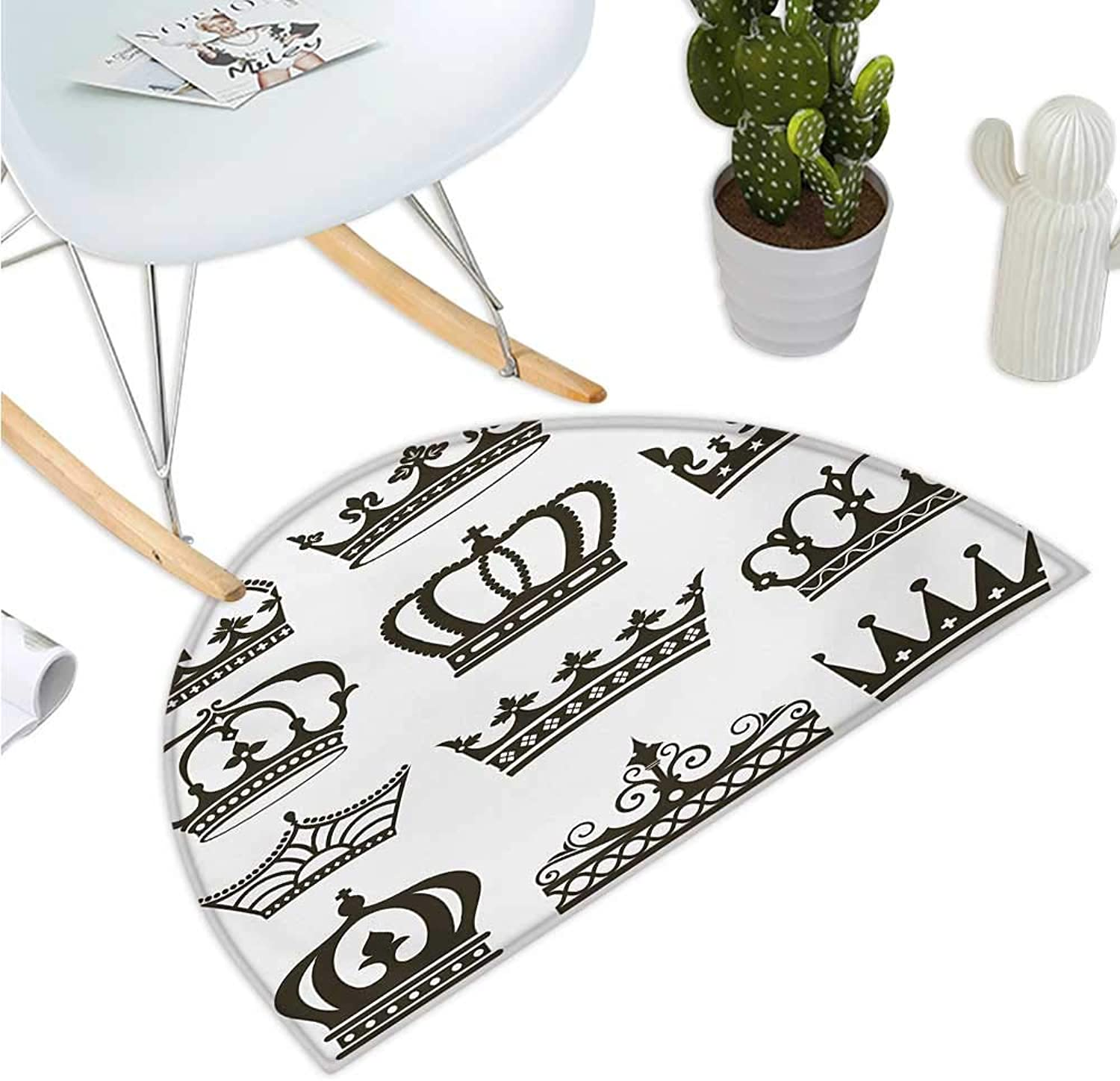 King Semicircular Cushion Symbol of Royalty Crowns Tiaras for Reign Noble Queen Prince Princess Cartoon Desgin Entry Door Mat H 43.3  xD 64.9  Army Green