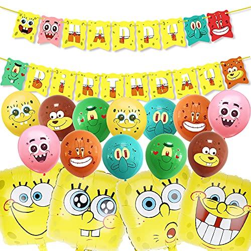 Decoración de fiesta de globos,Bob Esponja DecoracióN juego de globos, suministros de fiesta de cumpleaños para niños Baby Shower decoraciones de fiesta de cumpleaños
