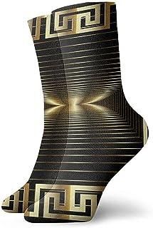 iuitt7rtree Patrón de panel griego abstracto moderno dorado 3d Calcetines Calcetines suaves y calcetines deportivos (30 cm)