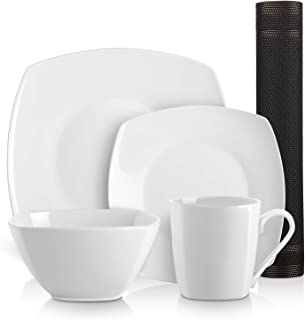 DOWAN 5 Pieces Kitchen Dinnerware Set, 2 Dishes, 1 Bowl, 1 Cup, 1 Placemat, Square
