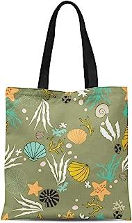 Semtomn Canvas Tote Bag Shoulder Bags Arrangement Sea Underwater World Ocean Corals Shells and Seaweeds Women's Handle Shoulder Tote Shopper Handbag