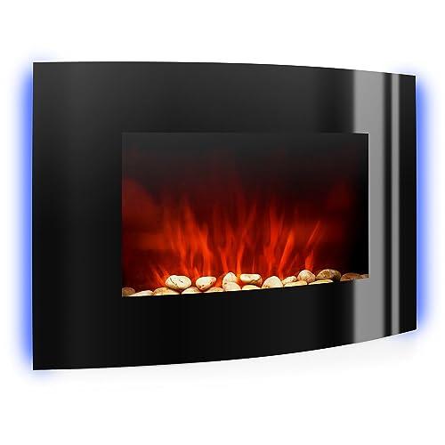 Klarstein Lausanne • cheminée électrique • Foyer électrique • poêle • Simulation de Flamme • éclairage LED coloré • Silencieux • 2 puissances : 1000 W ou 2000 W • télécommande • Montage Mural • Noir