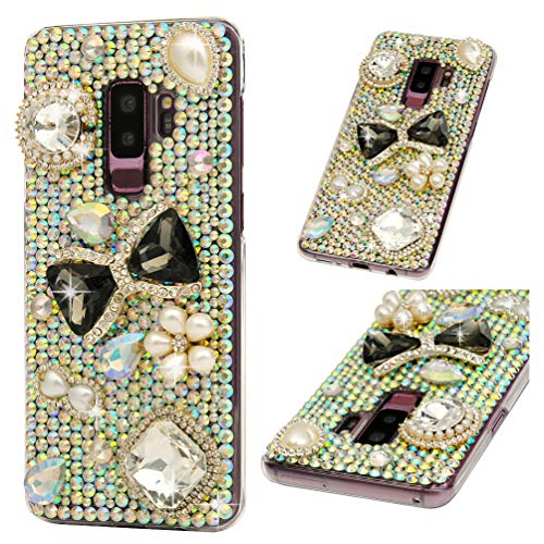 Galaxy S9 Plus Case, Crystal Clear PC Shell Edge Raised 3D Handmade Bling Shiny Glitter Sparkle Full Diamonds Rhinestones Gem Ultral Slim Bumper Colorful Jewelry Cover for Samsung Galaxy S9 Plus