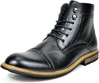 Men's Dress Ankle Motorcycle Boots Leather Lined Derby Oxfords