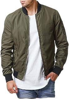 Macondoo Men's Zip Up Flight Overcoat Loose Coat Baseball Jacket