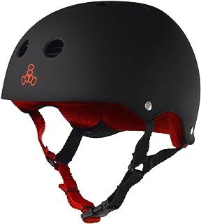 Triple Eight Sweatsaver Liner Skateboarding Helmet, Black Rubber w/ Red, XX-Large