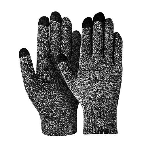 Women's Winter Touch Screen Gloves Warm Fleece Lined Gloves Hand Warmer Women (Black-White)