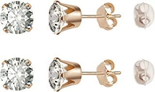 14K Gold Filled Stud Earrings With an Exquisite 6mm Cubic Zirconia Stone for Men, Women, Boys and Girls