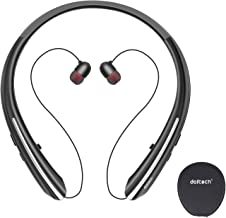 Bluetooth Headphones, Doltech Neckband Wireless Bluetooth 5.0 Headset with Retractable Earbuds, Hi-Fi Stereo Sound Earphones with Mic and Carrying Bag, Sweatproof Call Vibrate Alert (Black)