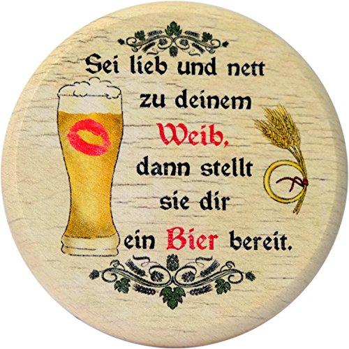 Kaltner Präsente Geschenkidee - Insektenschutz für Gläser und Getränke aus echtem Holz/Bier Wein Bierdeckel Biergläser Weingläser Biergarten/Motiv Bier Humor