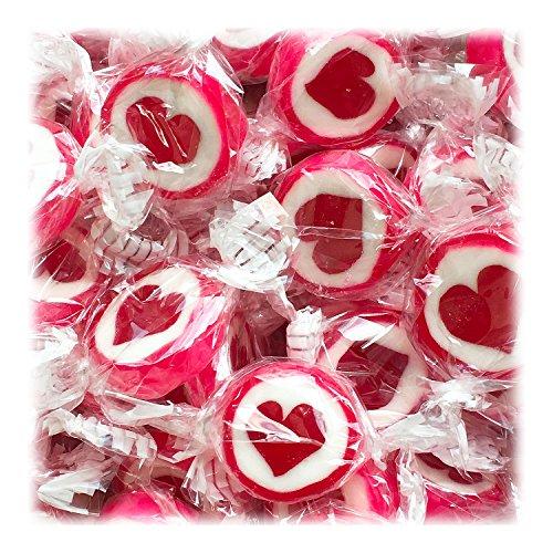 Cuore Dolci per Matrimonio Battesimo Comunione 500g Rosso-Bianco - Rocce artigianali Caramelle con Cuore Rosso - Tipo Fragola - Decorazione da Tavola Dolci Bomboniera