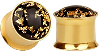 KUBOOZ(1 Pair Simple Golden Gold-foil Ear Plugs Tunnels Gauges Stretcher Piercings