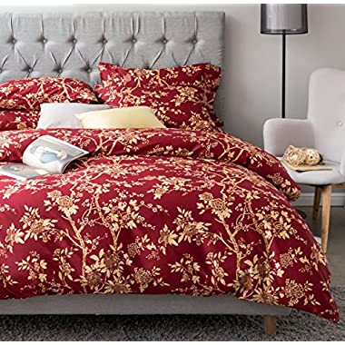 Eastern Floral Chinoiserie Blossom Print Duvet Quilt Cover Navy Blue Tan White Asian Style Botanical Tree Branches Ornamental Drawing 400TC Egyptian Cotton 3pc Bedding Set (King, Garnet)