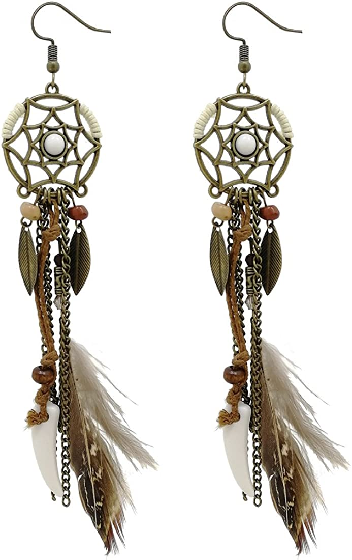 AIHIQI Vintage sale Punk Long Tassel Feather Wolf Shipping included Le Beads Tooth Drop
